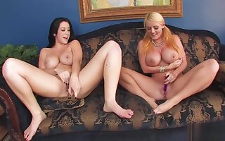 Stunning Sophie Dee and Her Girlfriend Having Fun with Dildos and Cream