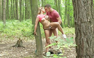 Spectacular amateur chick fucked into the woods and creamed of a piece with a whore