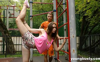 Flexible of course busty teen gets fucked after some nice street workout