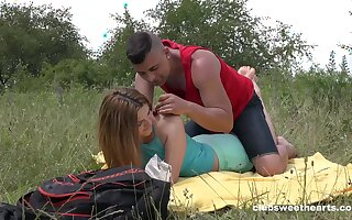 Deep penetration outdoor romance for this fresh 18 teen