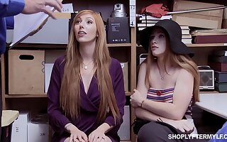 Red-hot haired stepmom with the addition of stepdaughter are punished for shoplifting
