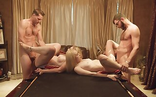 Foursome for the young babes after they decide to metamorphosis partners