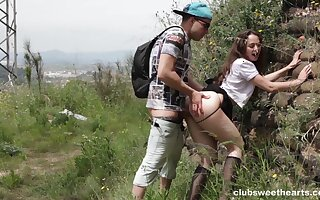 Hardcore outdoors fucking with a consolidated tits amateur girlfriend