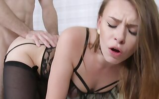 Courtesans in starless stockings mad about with a fan of femdom