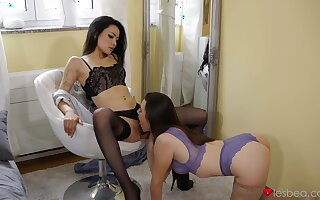 Impressive nude viva voce fun prevalent two girls dressed in hot lingerie