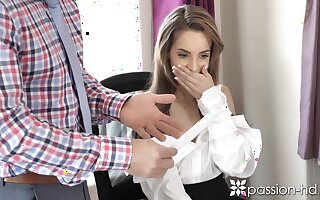 Hot and beautiful secretary Kimmy Granger spreads legs to be fucked missionary