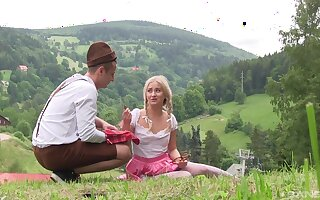 Starkers girl gets laid out in the nature until being creamed