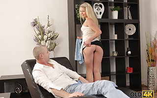 OLD4K. Pretty gal and friends dad have unplanned fuck