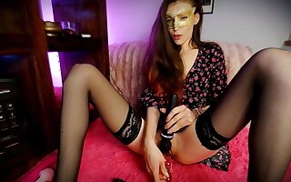 Girl Approximately A Flowery Dress Without Briefs Plays With A Vibrator And A Dildo