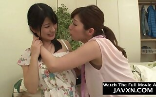 Lustful Japanese lesbians bush-league sex sheet