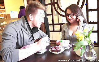 After coffee break nerdy girl is polished doggy certainly hard overwrought her friend