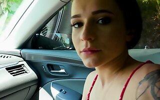 Babe dominates abandon driver and gives him a blowjob during driving