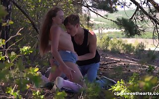 Outdoor romance hand-outs teen slut the worn out pleasure