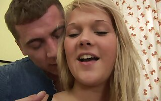 Horny blonde teen with natural tits has her shaved pussy hammered hard