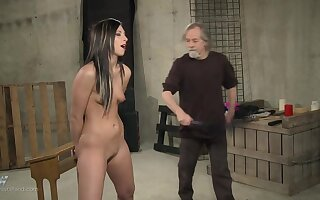 Brunette submissive teen babe loves to get tortured with electricity