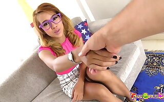 Nutriment Thai chick in purple glasses and round hairy pussy Bowl loves bulky BJ