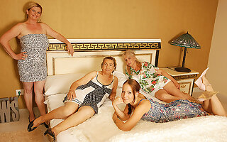 Four Elderly And Young Lesbians Having A Special Party - MatureNL