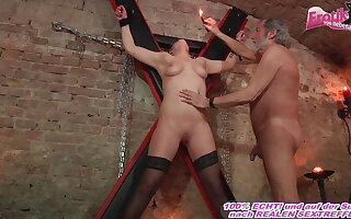 german submissive ungentlemanly fucks in fetish court with a user