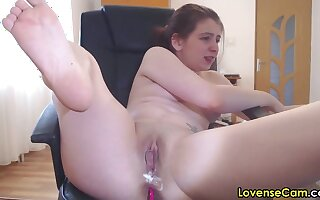 Creamy romanian camgirl masturbating down lovense booze-hound