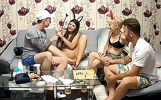 Stepsisters Foursome Teenager Orgy after Fun Table Game