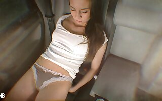 Quickie solo masturbation in be imparted to murder back of be imparted to murder car unconnected with sexy Andys