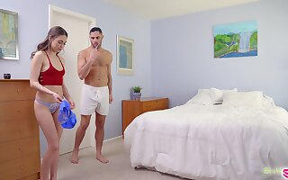 Cute skirt Riley Reid finds stepbrother's sperm on her panties