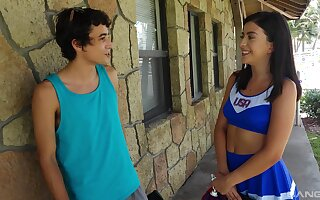 Teen cheerleader Natalie Brooks gets banged hard outdoors