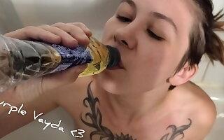 Purple Vayda - piss drinking from a bottle.